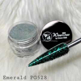 WowBao Nails glitter acryl poeder nr 528 Emerald 28g