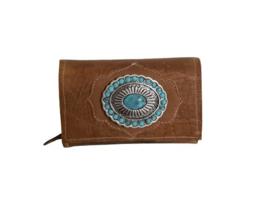 Ganesha - Miami Cognac croco portemonnee met turquoise stenen