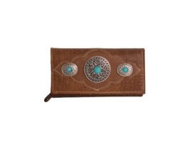 Ganesha - London Cognac croco portemonnee met turquoise stenen