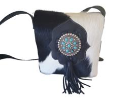 Ganesha - Shiva Zwart/wit Koeienhuid tas met turquoise stenen