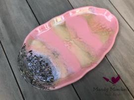 Handgemaakte schaal roze/champagne ovaal
