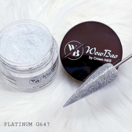 WowBao Nails acryl poeder Glitter nr G647 Platinum 28g