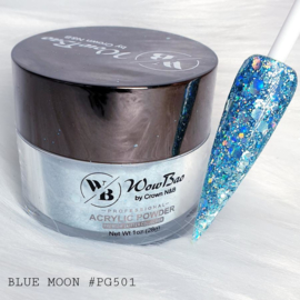 WowBao Nails acryl poeder Premium Glitter nr PG501 Blue Moon 28g