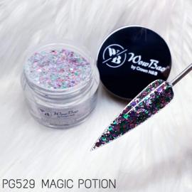WowBao Nails glitter acryl poeder nr 529 Magic Potion 28g