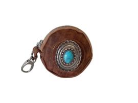 Ganesha - Bindi Cognac croco portemonneetje met turquoise steen
