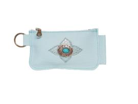Ganesha - Rio Sky Blue Croco portemonneetje met turquoise steen