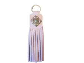 Ganesha - Sleutelhanger Franje Sweet Pink met turquoise steen