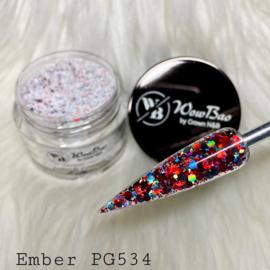 WowBao Nails glitter acryl poeder nr 534 Ember 28g