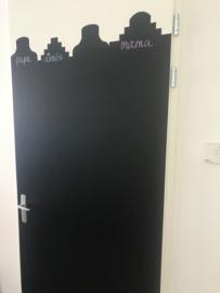 schoolbord folie / krijtbord folie grachtenpanden - deurformaat