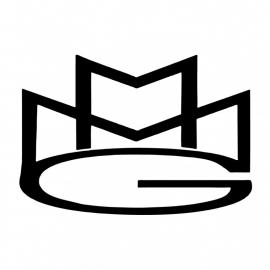 maatwerk - strijkfolie - logo MMG - flock wit