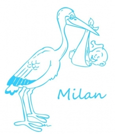 Geboortesticker - Ooievaar Milan