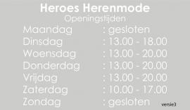 maatwerk raamfolie - Heroes herenmode