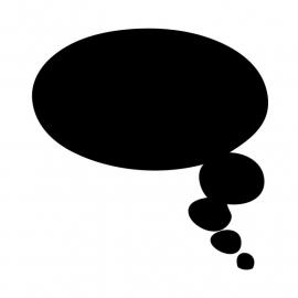 Schoolbordsticker / krijtbordsticker- tekst ballon 2 klein - gespiegeld