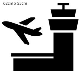 krijtbord sticker - vliegveld - verkeerstoren