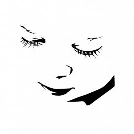 Wandsticker - silhouette van een baby gezicht