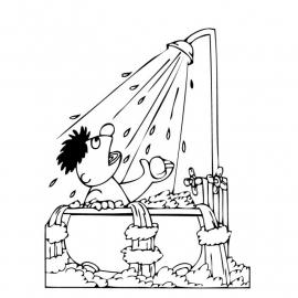 Raamfolie - badkamer - Ernie in bad