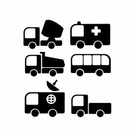Wandsticker - 6 verschillende voertuigen
