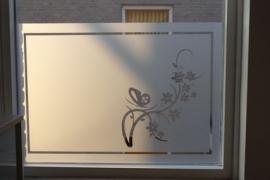 Raamfolie met rand en bloem