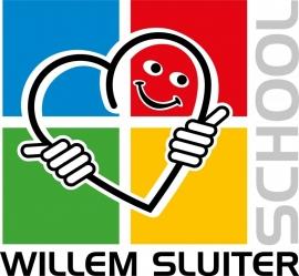 Maatwerk - full color transparante sticker Willem Sluiterschool