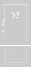 Etched glass raamfolie met naam en huisnummer 5