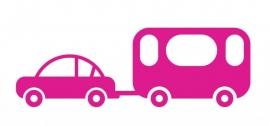 Wandsticker - Auto met caravan