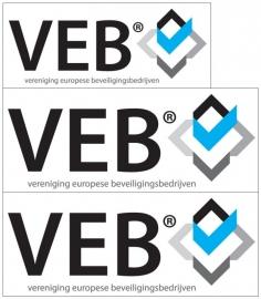 maatwerk sticker - full color transparant VEB - logo Pro Camera bewaking