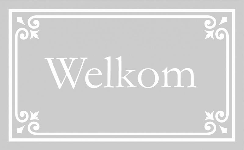 """Raamfolie met sierlijk kader 2 en woord """"Welkom"""""""