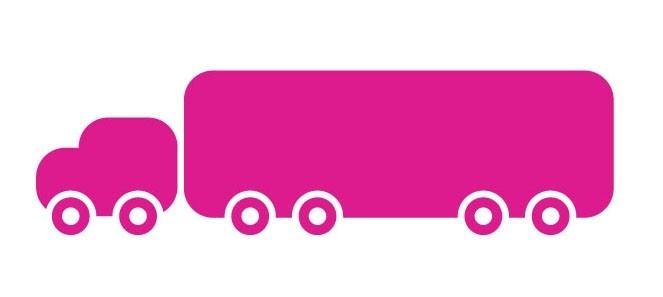 Wandsticker - vrachtauto met aanhanger