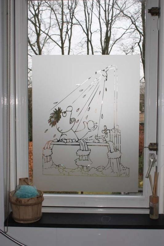 Raamfolie Badkamer Ernie In Bad Binnen Buitenzijde Raam Plakzijde Binnenzijde Raam Gespiegeld Raamfolie Etched Glass Folie Smukhus
