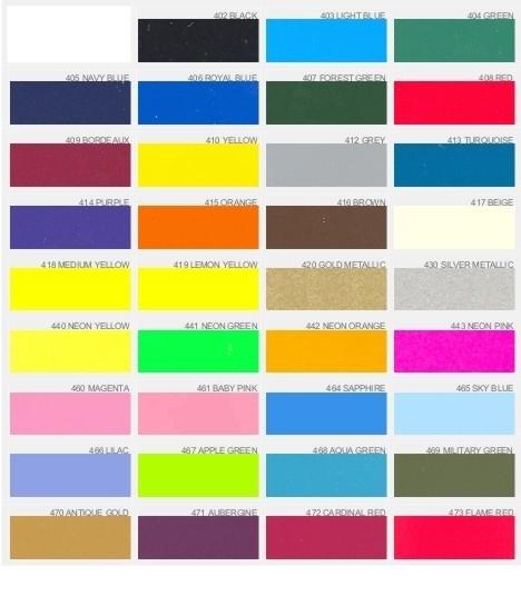 Kleurenkaart Strijkletters & figuren - standaard