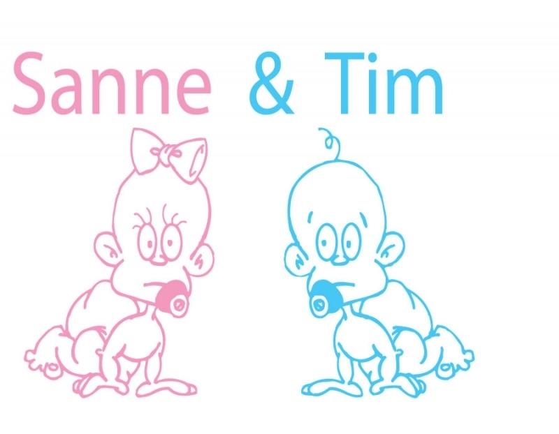 Geboortesticker - tweeling - Sanne & Tim