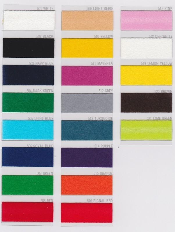 Kleurenkaart Strijkletters & figuren - flock