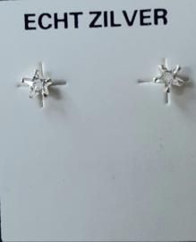Zirkonia sterretjes oorknopjes 4 mm doorsnee xilver