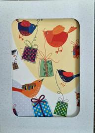 Vogel met cadeautjes wenskaarten in doosje 5 stuks