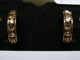 Open creolen zilverkleur met goudgele strass 12 mm