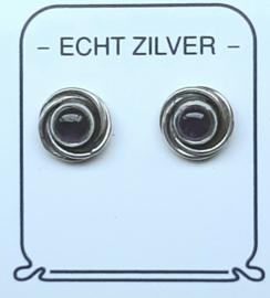 Amethyst oorknopjes paars zilver