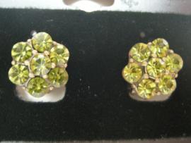 Swarovski clips oorbellen groen bloem motief