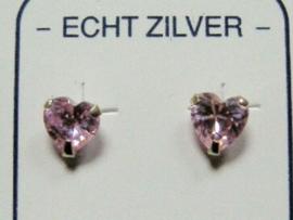 Roze zilveren hartjes oorknopjes 5 mm doorsnee