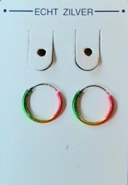 Gekleurde zilveren oorringetjes 12 mm doorsnee