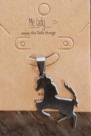 Paardenhanger roestvrijstaal zilverkleur.