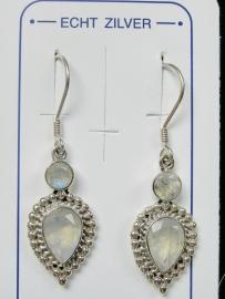 Prachtige maansteen oorbellen zilver