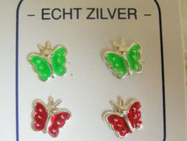 2 paaar zilveren vlinder oorknopjes