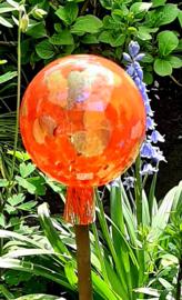 Mondgeblazen heksenbol 15 cm doorsnee oranje/ brons