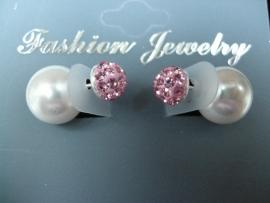 Nieuwe mode Double Dots oorknopjes zilver parel+roze strass