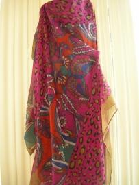 Roze/zwart/beige tijgersjaal met apart patroon