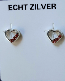 Zilveren open hartjes oorknopjes 5 mm met roze strass