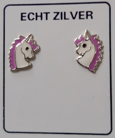 Eenhoorn oorknopjes lila paars/ wit zilver