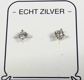 Zirkonia oorknopjes 3 mm naturel zilver