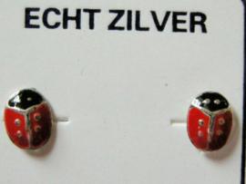 Lieveheersbeestjes oorknopjes zilver