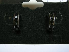 Open creolen zilverkleur met zwarte strass 12mm doorsnee